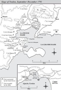 Map of the Siege of Toulon, led by Napoleon Bonaparte